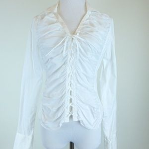 ANNE FONTAINE France COTTON LACE UP TIE SHIRT 2 M